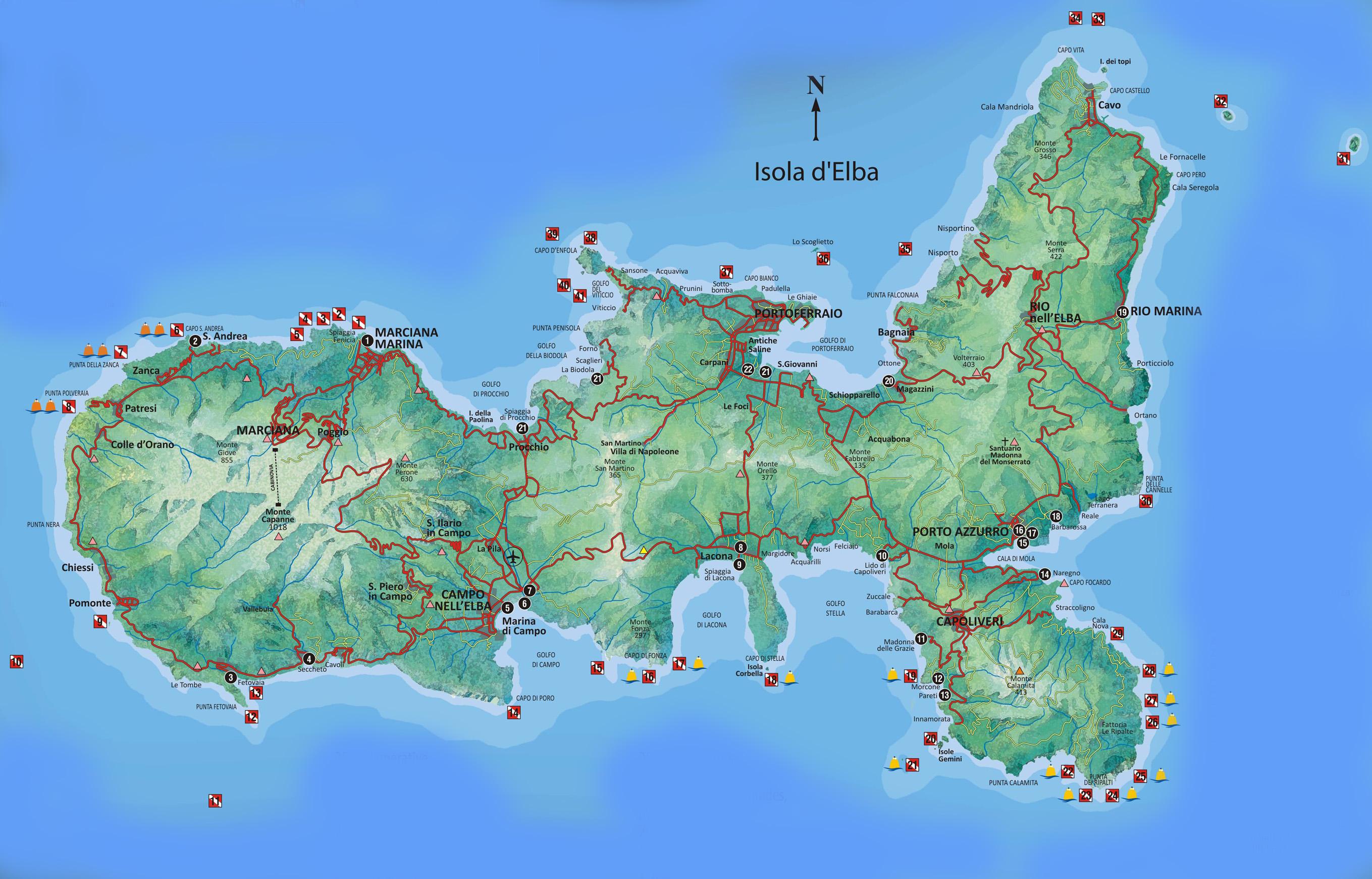 Cartina Elba Isola.Immersioni Elba Elba Ced Consorzio Elbano Diving
